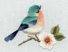 LITTLE BIRD & FLOWER lesson by TRISHBURREMBROIDERY on Etsy