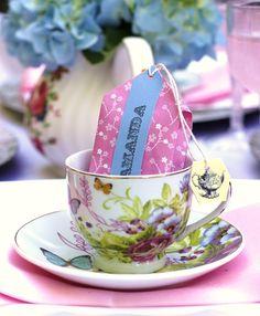 Tea Party: diy tea bag favors & name card - Celebrations At Home blog