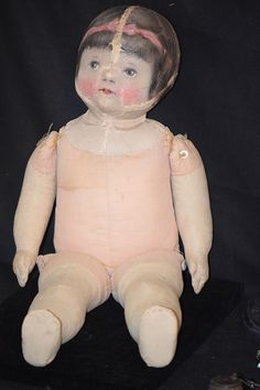 Antique Doll Cloth Character Unusual Oil Cloth WONDERFUL Girl