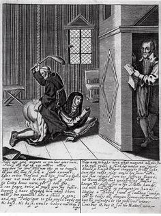 """Friar whipping nun's bare buttoicks with foxtail switch secretly watched by ballad-reader (Harry Plott). engraved sheet uniquely preserved in Douce's collection, Ashmolean Museum, Oxford. I'm guessing c.1600, and suggest in my book that it could be print-publisher, Peter Stent's """"Fryer whipping the Nun"""" which first appears in his 1654 prints listing."""