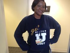 Atisha sporting her #ActiveU tee in Wolverine Tower!