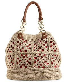 Olivia + Joy Handbag, Caribbean Beat Tote.  A crocheted straw exterior with contrast underlay is accented by chain detailed straps and a perfectly portable tote silhouette.