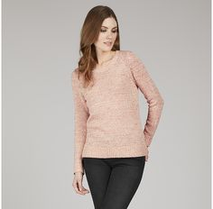 Womens shell pink tape yarn crew neck jumper from Laura Ashley - £60 at ClothingByColour.com