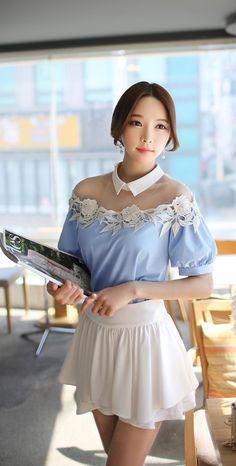 Morpheus Boutique  - Light Blue Hollow Lace Flower Lantern Sleeve Shirt MB, CA$74.02 (http://www.morpheusboutique.com/light-blue-hollow-lace-flower-lantern-sleeve-shirt/)