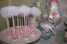 Marshmallow Pops at a Barbie in Paris Party #barbie #marshmallow, love the pom-pom on top of the marshmallow stick