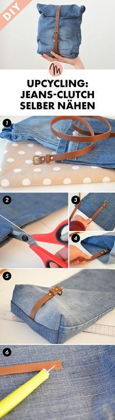 Upcycling: Jeans-Clutch selber nähen - Näh-Anleitung via Makerist.de