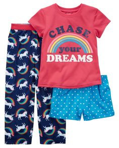 Carter's Girls' Unicorn Chase Your Dreams Pajama Set Toddler Pajamas, Baby Girl Pajamas, Pajamas Women, Cute Girl Outfits, Toddler Girl Outfits, Carters Baby Clothes, Carter Kids, Little Girl Fashion, Kids Wear