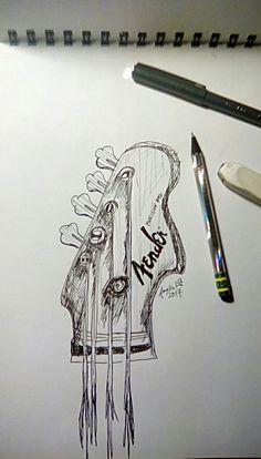 Whimsical fender guitar sketch 2017 By ukulelerocker