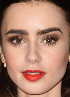 Close-up of Lily Collins at the 2016 Governors Awards.