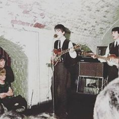 The Beatles in the Cavern Club, color photo of George Harrison and Paul McCartney, early Beatles One, Beatles Photos, John Lennon Beatles, Great Bands, Cool Bands, Liverpool History, Liverpool Town, The Quarrymen, The Ed Sullivan Show