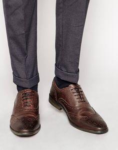 Base London Paprika Oxford Brogue Shoes - Brown