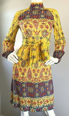 Amazing Vintage Rodrigues 1970s Yellow Silk 60s Dress and Head Scarf / Belt 4