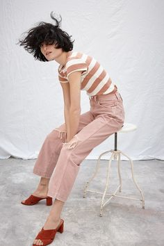 madewell x where i was from™ slim straight crop jeans worn with the musical tee in rugby stripe + greer mule sandal.