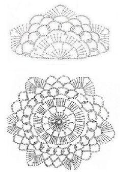 Pattern for crochet top T-shirt Au Crochet, Point Granny Au Crochet, Crochet Bolero, Granny Square Crochet Pattern, Crochet Diagram, Crochet Chart, Crochet Squares, Love Crochet, Irish Crochet
