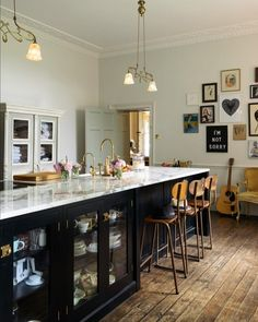 "1,457 Likes, 25 Comments - deVOL Kitchens (@devolkitchens) on Instagram: ""A wonderfully big Shaker island painted in Printer's Black with glazed base cupboards, a cool…"""