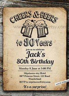 A selection of tasteful birthday invitations chosen by a professional party planner 80 Birthday, 80th Birthday Invitations, Cheers, Rsvp, Invite, Party, Grandparent, 80th Birthday, Parties