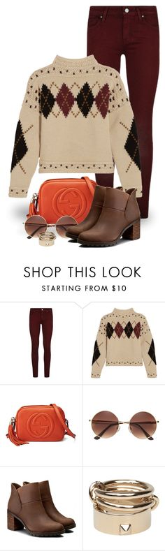 """Orange Bag (outfit only) 2394"" by boxthoughts ❤ liked on Polyvore featuring Paige Denim, Isabel Marant, Gucci, Clarks and Valentino"