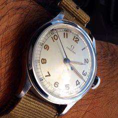 Vintage OMEGA Hand-Wound Military Wristwatch In Stainless Steel Circa 1940s