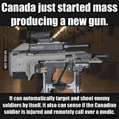The Canadian military is developing this futuristic rifle. It can hold a standard semi-automatic rifle as well as a shotgun or grenade launcher attachment.