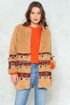 Nasty Gal You Better Bear-lieve It Tapestry Coat