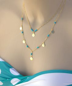 Layering Turquoise Necklace  Set of two by NightingaleWorkshop