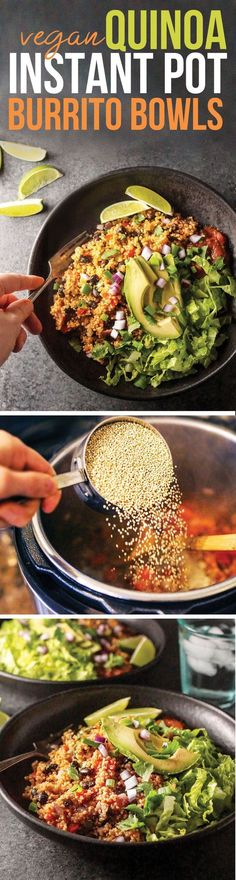 Vegan Quinoa Burrito Bowls are made in the Instant Pot for a quick and easy plant-based meal. I could eat this every week!These Vegan Quinoa Burrito Bowls are made in the Instant Pot for a quick and easy plant-based meal. I could eat this every week! Whole Food Recipes, Cooking Recipes, Healthy Recipes, Snack Recipes, Snacks, Yummy Recipes, Recipies, Quinoa Vegan, Burrito Bowls