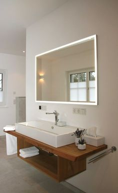 Oak vanity washbasin with illuminated mirror  #of #lighted # Oak