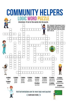 This community helpers logic word puzzle activity is a way for kids to use logical thinking and pattern matching paired with spatial recognition and spelling. Spring Activities, Craft Activities For Kids, Learning Activities, Logic Puzzles, Word Puzzles, Teaching Kids, Kids Learning, Computational Thinking, Stem For Kids