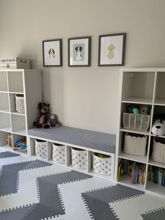 I have been working on redesigning Greyson's playroom since last summer. I'm off during the summer, so I have much more time to work on fun little. Family Room Playroom, Playroom Shelves, Playroom Flooring, Small Playroom, Toddler Playroom, Playroom Design, Kids Room Design, Playroom Decor, Girl Room
