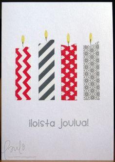 Washi tape Xmas card - candels