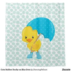 Cute Rubber Ducky on Blue Dots Shower Curtain - A cute rubber ducky with umbrella and galoshes against a pattern of blue chunky polka dots makes a whimsical addition to a bathroom. Suitable for children and adults Matching bath mats are available in this motif. Sold at DancingPelican on Zazzle.