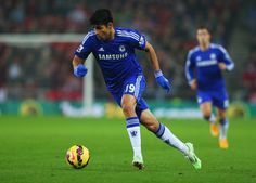 Diego Costa of Chelsea in action during the Barclays Premier League match between Sunderland and Chelsea at Stadium of Light on November 29, 2014 in Sunderland, England.