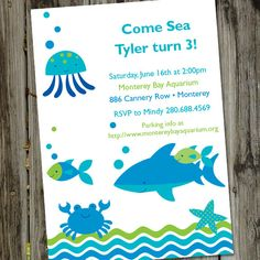 A Very Fishy Birthday Printable Aquarium Ocean Party Invitation. $15.00, via Etsy.