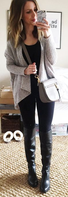 #winter #fashion /  Grey Cardigan / Black Tote / Black Leggings / Black Leather OTK Boots / Grey Leather Shoulder Bag