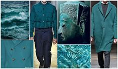 Top Color, Menswear Market, F/W 2015-16, PACIFIC SEA (Escape Brights) / New for Fall/Winter is a beautifully sophisticated shade of green. With strong hints of blue, pacific sea looks great with all shades of blue, grey and even black - also perfect for woolen fabrics and lustrous surfaces like crushed velvet.