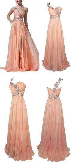 Stunning A-line One Shoulder Chiffon Long Prom Dress With Beading High Slit #prom #evening #party #dress