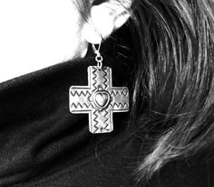 Vintage Heart Cross Sterling Silver Womens Jewelry by JewelActs, $59.00