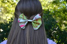 Green and red printed Fabric Hair Bow FREE by TheSweetBeanBoutique, $6.00