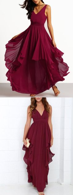 2017 prom dress, long prom dress, burgundy prom dress, chiffon prom dress, party dress
