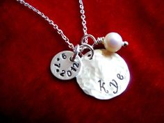 Necklace with Kids Name and Birthdate Sterling Silver Hand Stamped Hammered Disc. $30.00, via Etsy.