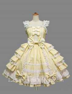 Lolita Light Yellow Cotton White Lace Square Neck Cap Sleeve knee-length Ruffles Bow Sweet Dress