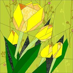 July BOM Tulips paper piecing patterns quiltartdesigns.blogspot.com