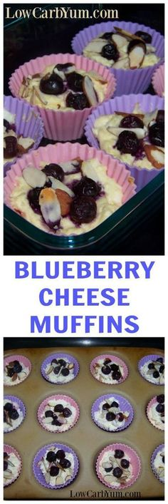A low carb blueberry cheese muffin recipe that's more like mini cheesecakes. These gluten free desserts can be eaten plain or with fruit and nuts on top. | LowCarbYum.com