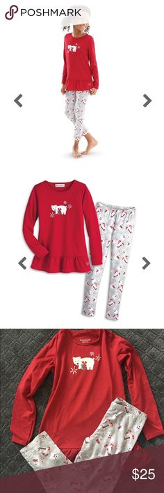 American Girl Playful Polar Bear PJ Set - Size M Good used condition- Minor pilling - I have the matching boots for sale in my closet as well. American Girl Pajamas Pajama Sets