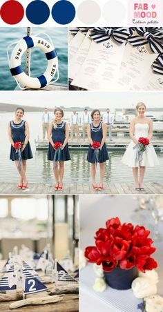 "Red and navy nautical wedding,Red and blue nautical wedding – Add to favorites Red and navy nautical wedding The ocean is a love affair,many can't explain their inherent fascination with the sea, perhaps some are just born to love the ocean air. This red & blue nautical themed Palette seemed so perfect to share with you lovelies! Nautical is always popular for summer weddings. There are lots of great trends to pull together for a FAB nautical wedding. Nautical buoy "" ..."