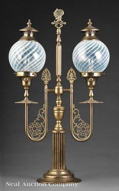 American or English Brass Newel Post Gas Lamp, late 19th c.,
