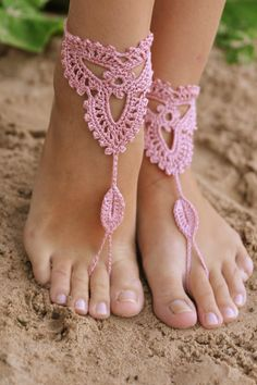 Crochet Old Rose Barefoot Sandals, Nude shoes, Foot jewelry, Wedding, Victorian Lace, Sexy, Yoga, Anklet , Bellydance, Steampunk, Beach Pool. $15.00, via Etsy.