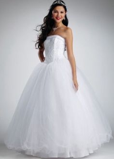New David's Bridal Tulle Ball Gown Wedding Dress Size 10 With Free Slip