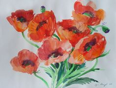 Original Watercolor POPPY Paintinting art nursery art