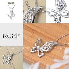 Roxi Platinum Butterfly Pendant Necklace Hot sale Roxi Ladies Pendant Chain Necklace Austrian Crystal Butterfly Pendant for women's fashion necklaces